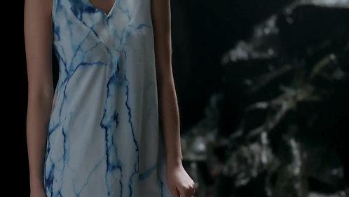 Archive Arctic Marble   V-Neck Tie Back Midi Dress