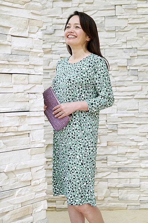7分袖サックドレス 15 コンフェティグリーン