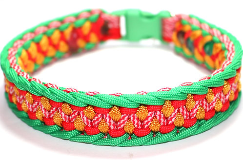 """Paracord Collar - Green/Gold/Red - Neck Size 12.5"""" / 1"""" Wide"""