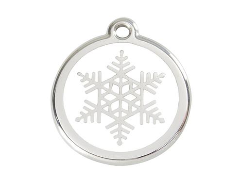 Red Dingo ID Tag - Stainless Steel/Enamel - Snowflake - Various Sizes