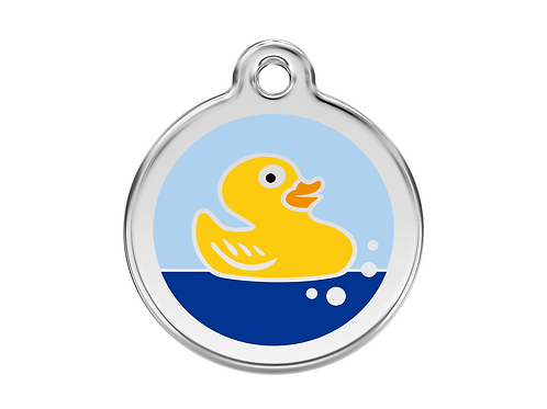 Red Dingo ID Tag - Stainless Steel/Enamel - Rubber Duck - Various Sizes