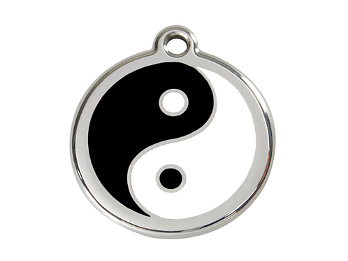 Red Dingo ID Tag - Stainless Steel/Enamel - Yin & Yang - Various Sizes