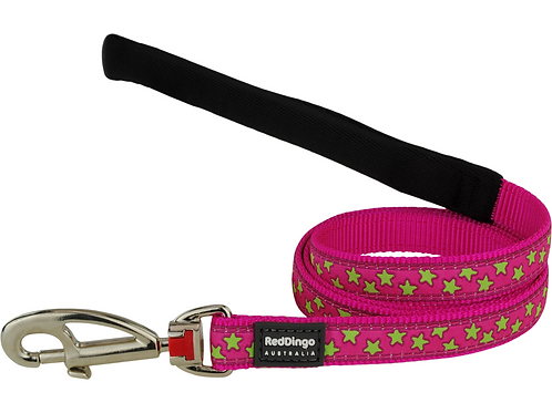 Red Dingo Lead - Hot Pink/Lime Green Stars