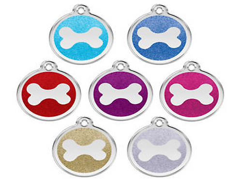 Red Dingo ID Tag - Stainless Steel with Glitter - Bone - Various Sizes