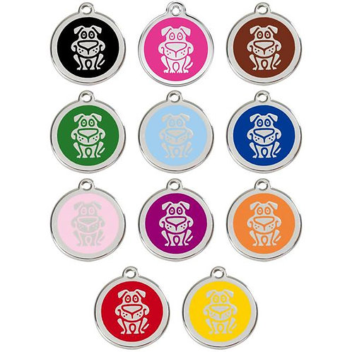 Red Dingo ID Tag - Stainless Steel/Enamel - Dog - Various Sizes