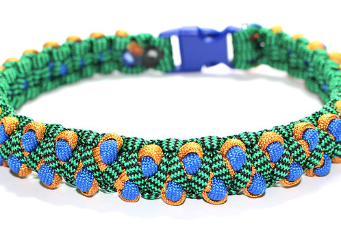 """Paracord Collar - Green/Gold/Blue - Neck Sizes 13.5"""", 14.5"""" & 17.5"""""""