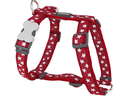 Red Dingo Adjustable Harness - Red / White Stars