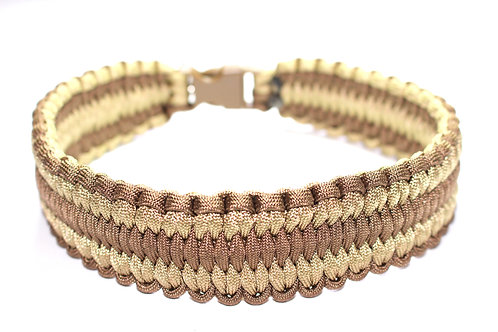 """Paracord Collar - Light Brown & Tan - Neck Sizes 14"""" & 15.5""""  / 1.5"""" Wide"""