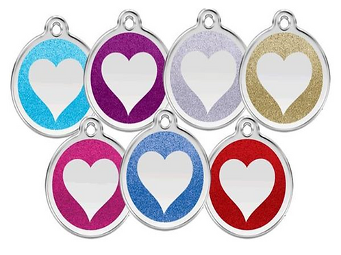 Red Dingo ID Tag - Stainless Steel with Glitter - Heart - Various Sizes