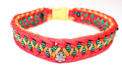 "Paracord Collar - Red, Gold and Green - Neck Size 13"" / 1"" Wide"