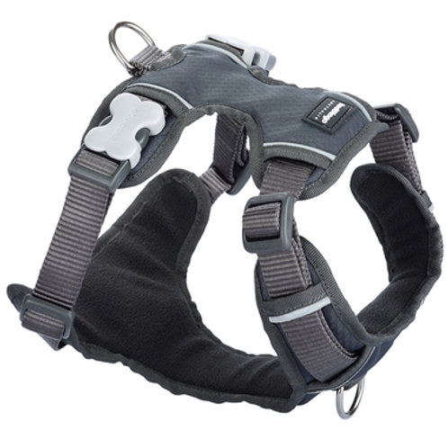 Red Dingo Adjustable Padded Harness - Cool Grey