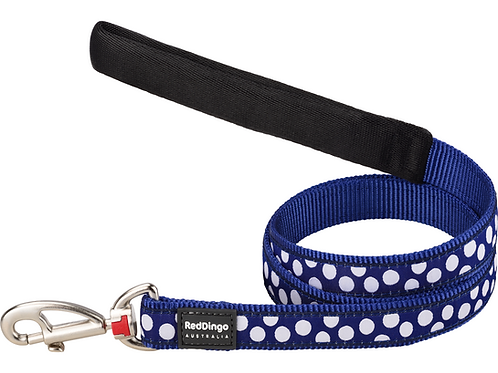 Red Dingo Lead - 1.2m / 4ft - Dark Blue / White Spots
