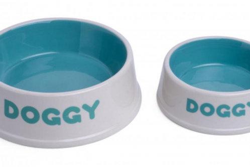 Doggy Ceramic Bowl - Aqua/Cream by Petface
