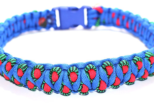 """Paracord Collar - Blue/Red/Green - Neck Sizes 17"""" / 43cm"""