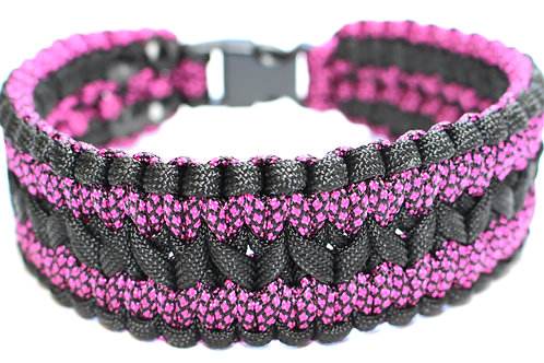 """Paracord Collar - Black & Pink - Neck Size 13"""" / 1.5 Wide"""