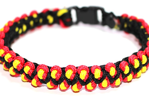"Paracord Collar - Red/Black/Yellow Design - Neck Size 8.5"" / 15mmWide"