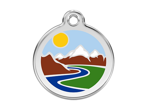 Red Dingo ID Tag - Stainless Steel/Enamel - Mountain Trail - Various Sizes