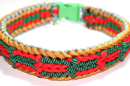 """Paracord Collar - Green/Red/Gold/Silver - Neck Size 16"""" / 1.5"""" Wide"""