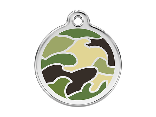 Red Dingo ID Tag - Stainless Steel/Enamel - Camouflage Green - Various Sizes