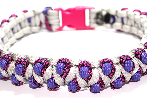 "Paracord Collar - Grey/Purple/Pink - Neck Sizes 13"" & 13.5"""