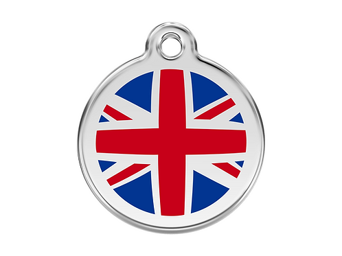 Red Dingo ID Tag - Stainless Steel/Enamel - Union Jack - Various Sizes