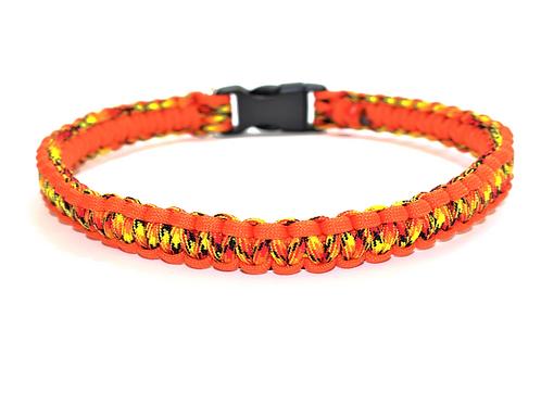 "Paracord Collar - Orange Flames - Neck Size 15.5"""