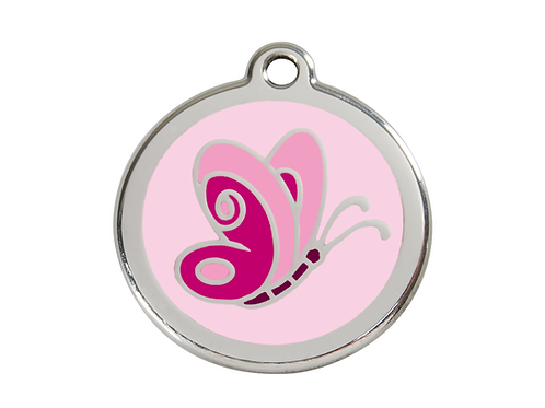 Red Dingo ID Tag - Stainless Steel/Enamel - Pink Butterfly - Various Sizes
