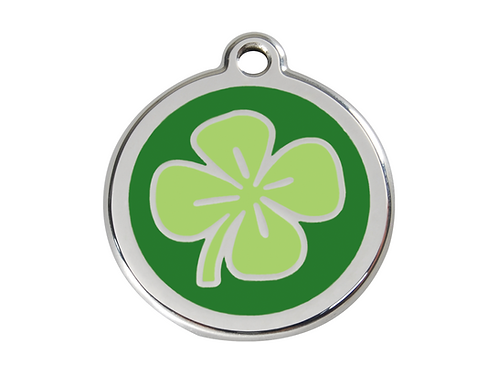 Red Dingo ID Tag - Stainless Steel/Enamel - Four Leaf Clover - Various Sizes