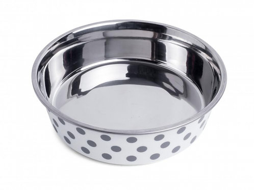 Deli Bowl - White/Grey Spots by Petface