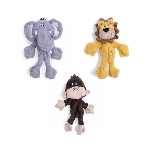 Petface Rope Body Elephant, Lion and Monkey - Stuffing Free!