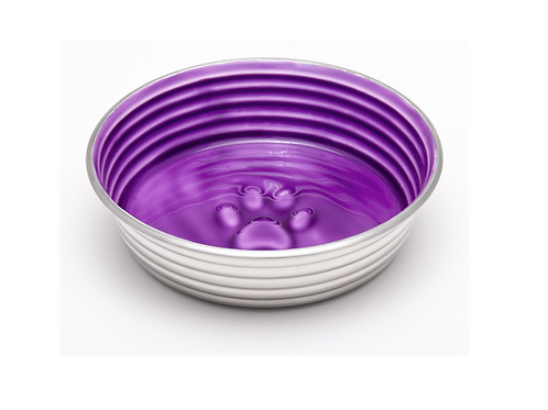 Stainless Steel Dog Bowl with Lilac/Purple Ceramic like Inner by Le Bol