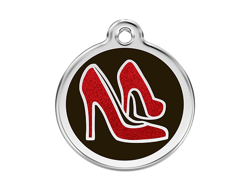 Red Dingo ID Tag - Stainless Steel with Glitter - Red Shoes - Various Sizes