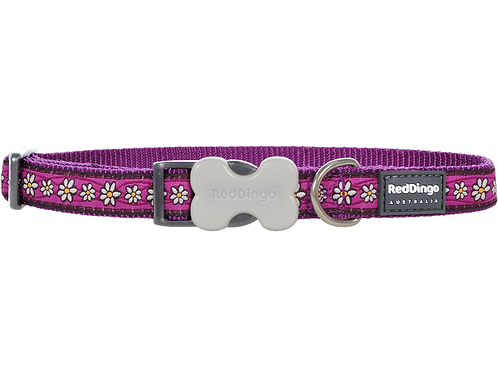 Red Dingo Adjustable Collar - Daisy Chain Purple