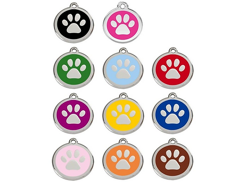 Red Dingo ID Tag - Stainless Steel/Enamel - Pawprint - Various Sizes