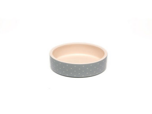 Ceramic Food / Water Bowl - Grey with White Spots