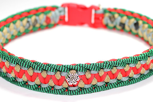 """Paracord Collar - Green/Gold/Red/Silver - Neck Size 16.5"""" / 1"""" Wide"""