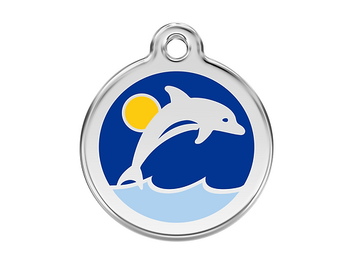 Red Dingo ID Tag - Stainless Steel/Enamel - Dolphin - Various Sizes