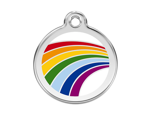 Red Dingo ID Tag - Stainless Steel/Enamel - Rainbow - Various Sizes