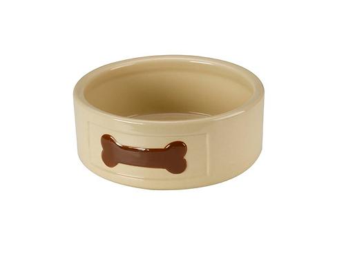 Ceramic Food / Water Bowl - Brown Bone