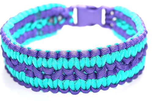 "Paracord Collar - Purple & Blue/Green - Neck Size 14"" / 1.5"" Wide"