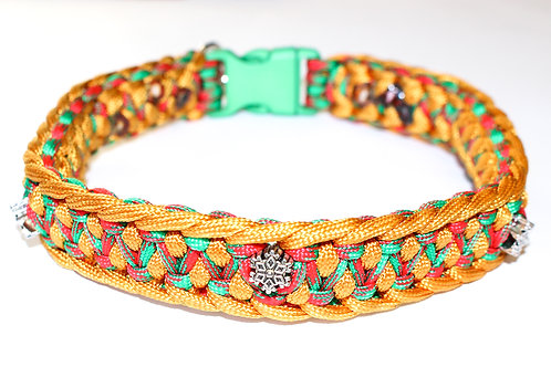"Paracord Collar - Red, Gold and Green - Neck Size 15.5"" / 1"" Wide"