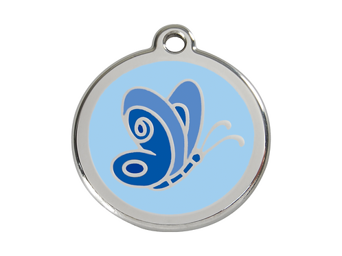 Red Dingo ID Tag - Stainless Steel/Enamel - Blue Butterfly - Various Sizes