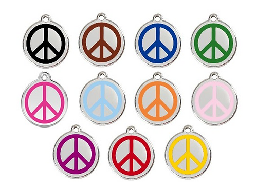Red Dingo ID Tag - Stainless Steel/Enamel - Peace - Various Sizes