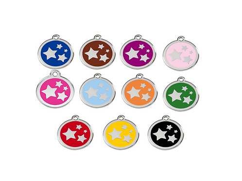 Red Dingo ID Tag - Stainless Steel/Enamel - Stars - Various Sizes