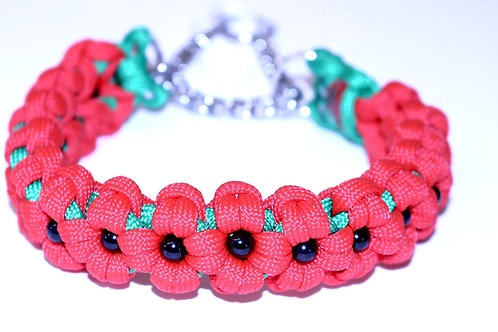 "Paracord Martingale Collar - Red Poppies - Neck Sizes 8-11"" & 11-16"""