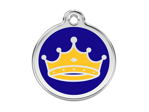 Red Dingo ID Tag - Stainless Steel/Enamel - King Crown - Various Sizes