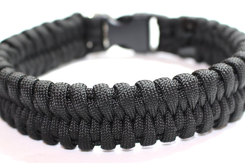 Paracord Collar - Black - Neck Sizes 10""