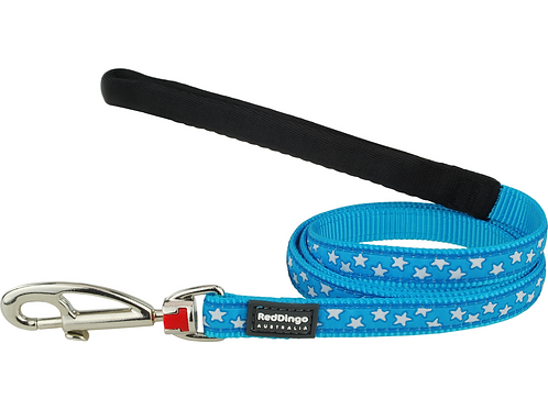 Red Dingo Lead - 1.2m/4ft - Turquoise / White Stars