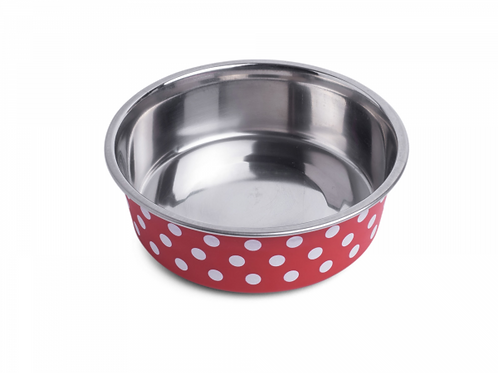 Deli Bowl - Cranberry/White Spots by Petface