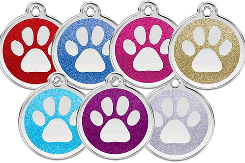 Red Dingo ID Tag - Stainless Steel with Glitter - Pawprint - Various Sizes
